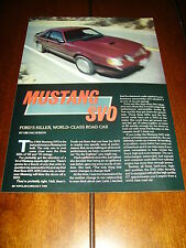 1984 MUSTANG SVO - FORD KILLER WORLD CLASS CAR  ***ORIGINAL ARTICLE***