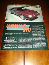 1984 MUSTANG SVO - FORD KILLER WORLD CLASS CAR  ***ORIGINAL ARTICLE***