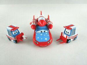 Disney Pixar Diecast Cars Daredevil Lightning McQueen & 2 Pitties