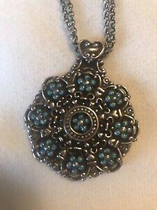 EUC BRIGHTON Medallion Disc Silver Reversible Pendant Necklace New Turquoise