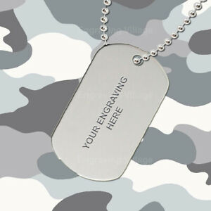 Silver Aluminium - Personalised / Engraved-Army-Military-Dog-ID / Tag & Chain