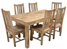 BRAND NEW DAKOTA  Light-SOLID MANGO WOOD- LARGE- 1.8 DINING TABLE AND 6 CHAIRS