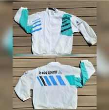 New listing Vintage Le Coq Sportif Mens Track Jacket Size Large White Full Zip Gangster 80's