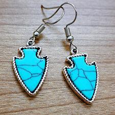 925 Silver Turquoise Ear Hook Earrings Dangle Wedding Gems Jewelry Engagement