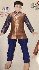 "26"" Age 4 - 5 Size Boys Kurtha Indian Sherwani Bollywood Suit Blue Bronze B6"