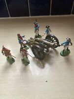 VINTAGE BRITAINS SWOPPETS AWI FIGURES ( REPAINTED ) AND CANNON