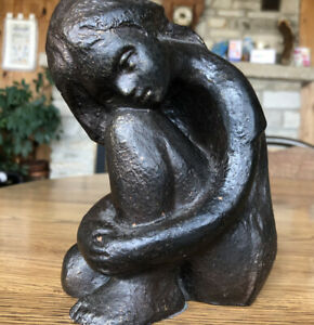 KLARA SEVER 1970  Mid-Century Modern Sculpture Austin Prod NUDE GIRL SITTING