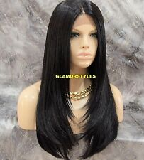Long Straight  Layered Jet Black Full Lace Front Wig Heat Ok Hair Piece #1 NWT