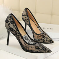 Women Fashion Lace Stiletto High Heel Pumps Slip On Wedding Party Ladies Shoes
