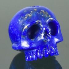 Lapis Lazuli Human Skull Bead Natural Blue Afghanistan 12.17 mm Carving 2.16 g