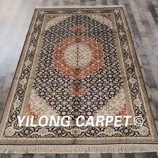 YILONG 5'x8' Hand Knotted Silk Persian Abstract Rug Flooring Decor Carpet 456B