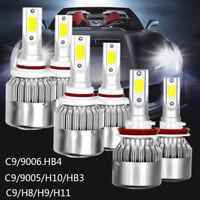 9005+9006+H11 LED Headlight Bulbs White 6000K Car Fog Light Beam Combo Turbo Kit