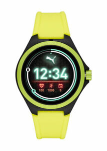 Smartwatch Men's Puma Android Watch 44mm Case Neon/Yellow with Silicone Strap