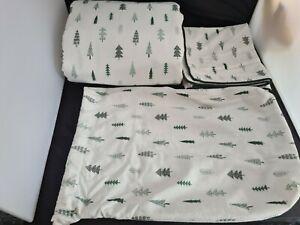 M&S Green Christmas Trees Bedding Set - Single Duvet Cover And Pillowcase