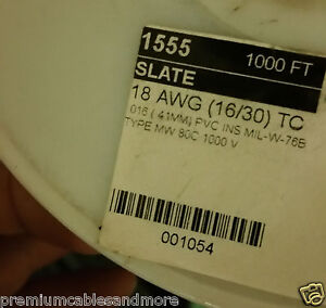Alpha Wire 1555 18awg Tinned Copper Hook Up Wire 1000V 80C MIL-W-76B Gray /100ft