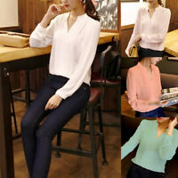 Women V Neck Stand Collar Long Sleeve Loose Chiffon Blouse Casual T-shirts