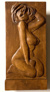 """Wood Carving Nude 11.0"""" x 5.25"""" x 1.25""""  Free Standing - Wall Bas-Relief SB01"""