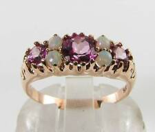 LARGE 9K 9CT ROSE GOLD PINK TOPAZ OPAL ART DECO INS ETERNITY RING FREE SIZE