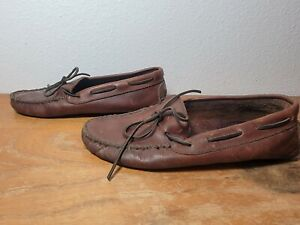 Minnetonka Women's Sz 9.5 Moccasin Brown Leather Mocs Lace Up Loafers Flats