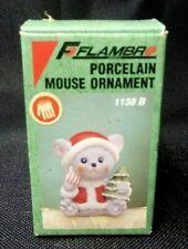 Vintage 1989 Flambro Porcelain Santa Mouse Figurine 1138B Christmas Holiday