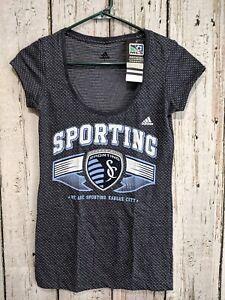 LZ Misses S Adidas Cap Sleeve T-Shirt Tee Shirt MLS Kansas City Sporting