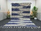 "Moroccan Handmade Kilim Zanafi Rug 6'2""x10'3"" Berber Geometric Dark Blue Carpet"
