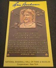 LOUIS BOUDREAU SIGNED MLB HOF PLAQUE POSTCARD CLEVELANDINDIANS W/COA+PROOF