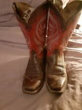 Ariat Brown Red Leather WideSquare Toe Cowgirl Western Boots Shoes Women's 9.5 B