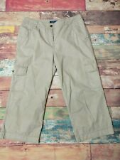 Boden Khaki Cropped Cargo Trousers Cotton Lightweight Size 14