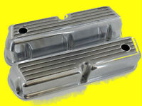 Ford 289 302 351W  Cast Tall Finned Aluminum Valve Covers Polished Aluminum