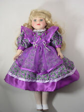 """Victorian Garden Collection brass key 16"""" porcelain doll with purple dress"""