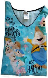 "Disney~Women's V-Neck Scrub Top~Says ""Six of the Seven Dwarfs Are Not Happy""~XL"