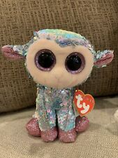 """TY Beanie Boo TULIP Flippable Sequin Lamb Easter Small 6"""" Baby NEW With Tag"""
