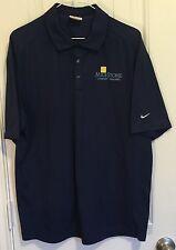 Nike Golf Polo Shirt Mens Large L MileStone Community Builders Navy Blue Dri-Fit