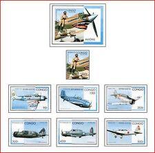 CON96052  Aircraft of World War II 6 pcs + block + stamp block MNH SAHARA 1996