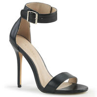 Pleaser AMUSE-10 Women's Black Pu High Heel Ankle Strap Open Toe Stiletto Sandal