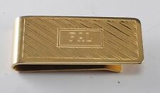 """Vintage Gold Plated Brass Money Clip Etched Monogram InitIals """" FAL""""  Used"""