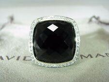 AUTHENTIC DAVID YURMAN ALBION 17MM ONYX PAVE DIAMOND RING SIZE 6  W/DY POUCH