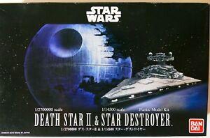 Star Wars Bandai 1/2700000 DEATH STAR II & 1/14500 STAR DESTROYER Model Kit NEW