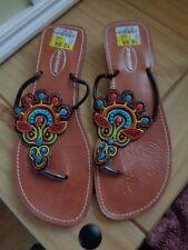 Pretty beaded toepost / flip flops sandals Deichmann size 6