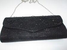 Clutch Purse Evening Bag Metallic Black Jeweled Rhinestone Crystal Formal Party