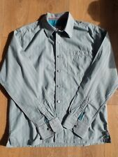 "FAT FACE TURQUOISE & GREY STRIPED COTTON SHIRT SIZE M (38-38"")"
