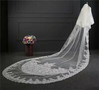 3.5M Women embroidery White Bride Bridal long Wedding head hair Veil with comb