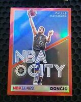 2019-20 NBA Hoops Premium Stock Luka Doncic NBA City Red Prizm