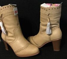 WOMENS DINGO CHESTNUT TAN LEATHER ZIP UP CASUAL DRESS BOOTS SIZE 8 8.5 NIB!