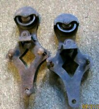 New listing Matched pair of antique cast iron Allith Prouty barn door rollers - complete