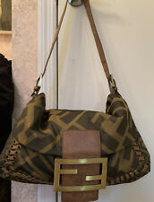 authentic Vintage FENDI Large Tan Logo Slouch Hobo Bag