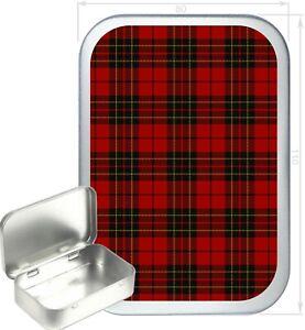 Red Tartan Gift Box,150ml Silver Hinged Tin, Tobacco Tin, Storage Tin