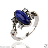The Vampire Diaries Elena's Daylight ring Lapis Lazuil Ring 925 Sterling Silver