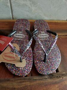 NWT - Havaianas - Purple Glitter Carnival Women's Flip Flops - Size  7/8